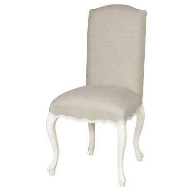 French Chateau White Distressed Shabby Chic Side Linen Dining Chair