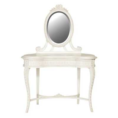 Chateau Shabby Chic White Painted Carved Dressing Table and Mirror