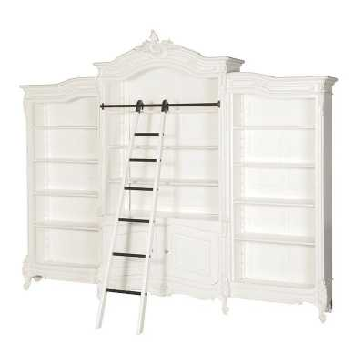 Delicieux French Shabby Chic White Chateau Triple Bookcase With Ladders