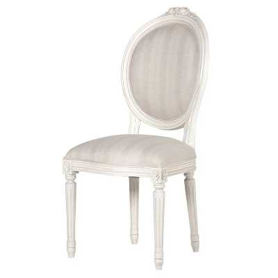 Shabby Chic Chateau Painted Oval Upholstered Fabric Dining Chair