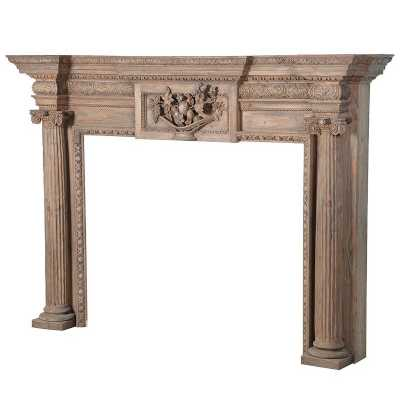 Colonial Reclaimed Stripped Pine Carved Wooden Fire Surround