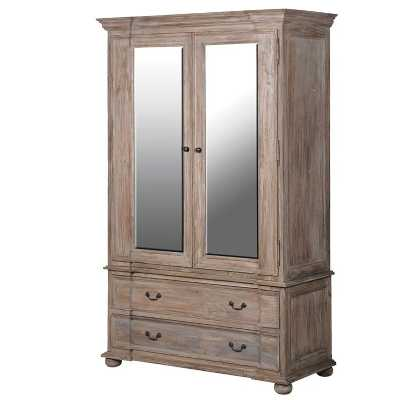 Imperial Stripped Wooden Large Double 2 Door Wardrobe with Drawers