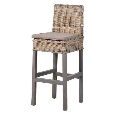Set of 3 Kuba Rattan Kitchen Breakfast Barstools Solid Wood Assembled