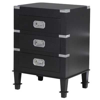 Contemporary Black Kensington Bedside with Chrome Brackets