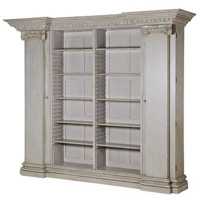 Portofino Open Bookcase with Grey Stone Distress Painted Finish