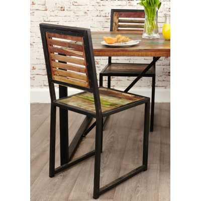 Pair of Rustic Kitchen Dining Chairs Painted Boat Wood Black Metal Frame