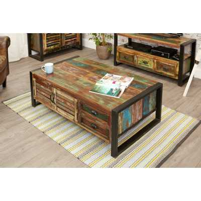 IRF08B Baumhaus Urban Chic 4 Door 4 Drawers Large Coffee Table