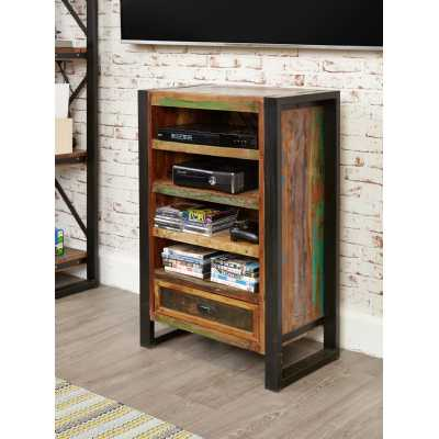 Recycled Wood Entertainment Media Shelving Display Storage Unit Cabinet Black Metal Frame Industrial Urban Chic Style