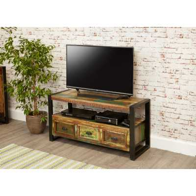 Rustic Recycled Painted Reclaimed Wood Widescreen TV Media Cabinet Unit