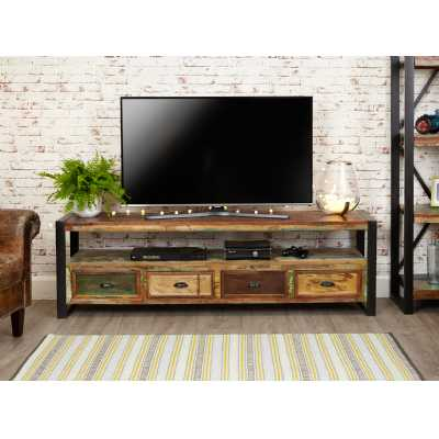 Reclaimed Wood Painted Large Open Widescreen TV Media Cabinet Unit with Drawer Base and Black Metal Frame Industrial Urban Chic Style
