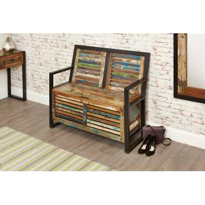Hallway Shoe Storage Monks Bench Rustic Painted Boat Wood with Lid
