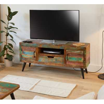 Rustic Painted Wood Widescreen TV Media Cabinet Unit Urban Chic Style
