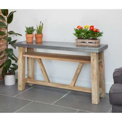 Hardwood Open Frame Console Hall Table Studded Zinc Metal Top Urban Chic Industrial Style