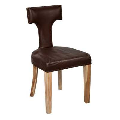 Acacia Wood Brown Leather T Back Dining Chair
