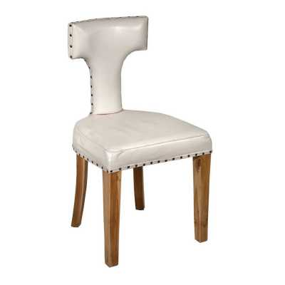 Acacia Wood White Leather T Back Dining Chair with Studs