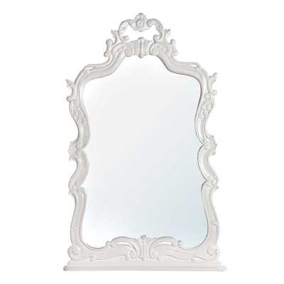 Tono White Wooden Carved Overmantle Mirror