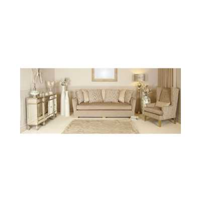 Modern Light Taupe 2 Seat Love Seat with Accent Scatter Cushions