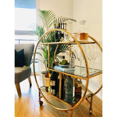 Art Deco Gold Round Metal Bar Tea Drinks Cakes Serving Trolley with Glass Shelves
