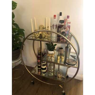 Art Deco Champagne Gold Round Metal Tea Drinks Serving Gin Trolley with Glass Shelves