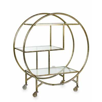 Champagne Gold Metal Drinks Tea Cakes Hostess Serving Trolley with Mirrored Glass Shelves