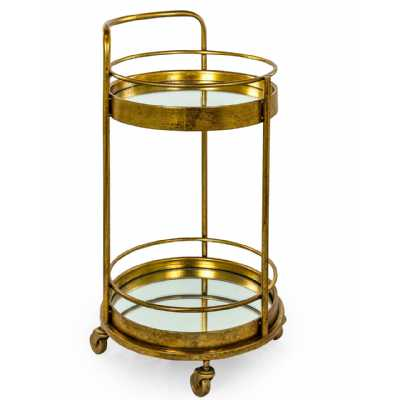 Antique Gold Leaf Metal Small Round 2 Tier Drinks Trolley with Mirrored Glass Shelves