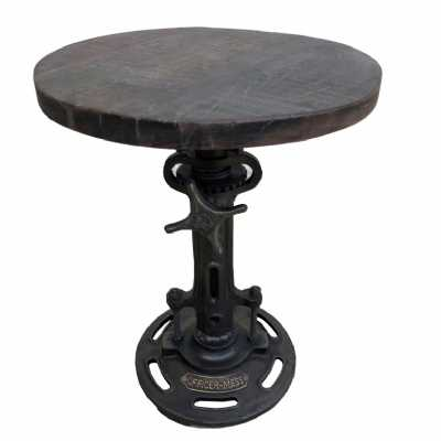 Industrial Style Original Reclaimed Wood And Metal Round Adjustable Living Room Stool 68 x 34cm