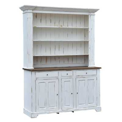 Large White Shabby Chic Distress Dresser Cabinet with Oak Top