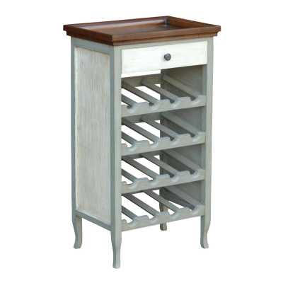 Grey And White Wine Rack Table