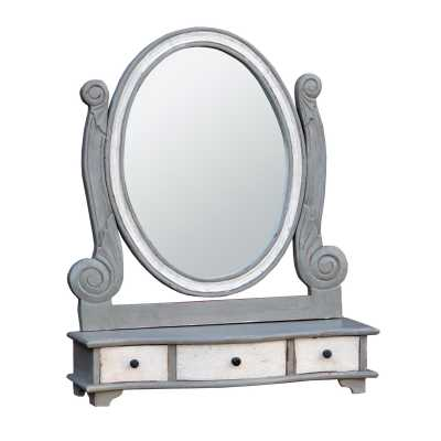 Isabella Grey White Vanity Table Top Mirror with Drawers