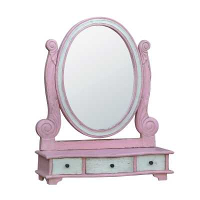 Isabella Pink White Vanity Table Top Mirror with Drawers