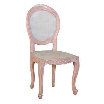 Isabella Round Back Pink Dining Chair with Rattan
