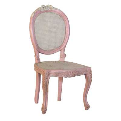 Isabella Shabby Chic Pink Dining Chair with Rattan