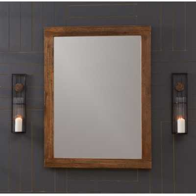 Modern Rustic Malmo Wall Mirror Elmwood Walnut Finished Frame