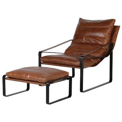 Modern Retro Brown Leather Metal Framed Relaxer Chair And Stool