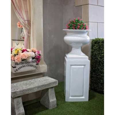 White Marbs Urn and Base Outdoor Planter with Pedestal