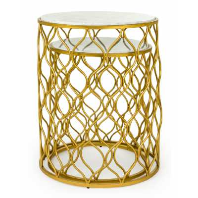 Set Of 2 Modern Gold Leaf Round Metal White Marble Top End Side Tables