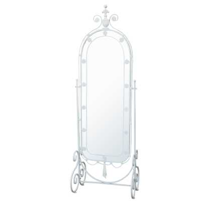 Ornate Shabby Chic White Painted Iron Floor Standing Cheval Mirror