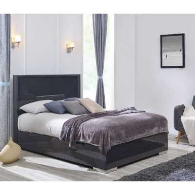 Emilia 5ft King Size Bed Grey Modern High Gloss with Steel Feet