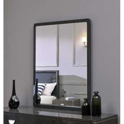 Emilia Dark Grey High Gloss Wall Mirror with Walnut Effect