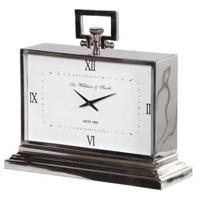 Modern Large Nickel Finish Art Deco Style Rectangular Mantel Clock