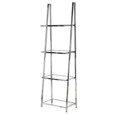 Modern Terano Steel 4 Tier Metal Display Rack 4 Glass Shelves