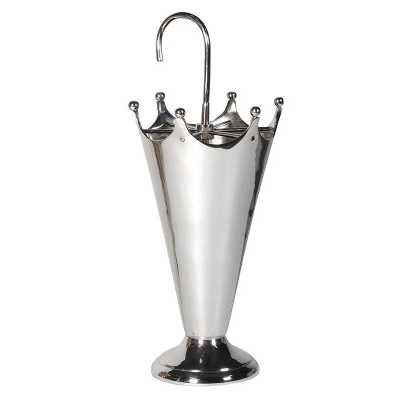 Decorative Umbrella Shaped Nickel Umbrella Stand with Hooked Handle