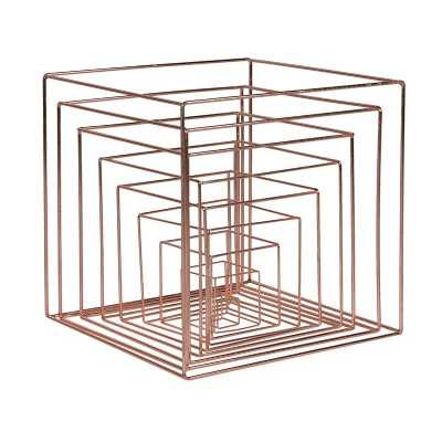 Set of 9 Copper Nesting Display Cubes