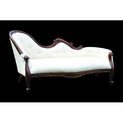 Mahogany And Cream Louis Chaise Lounge French Reproduction