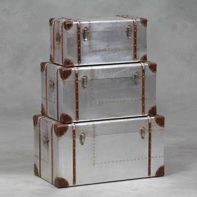 London Steampunk Aluminium Industrial Silver Set Of 3 Storage Trunks