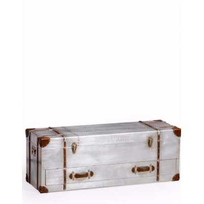 Industrial Style Aluminium Travel Trunk Silver Storage Box with Drawer