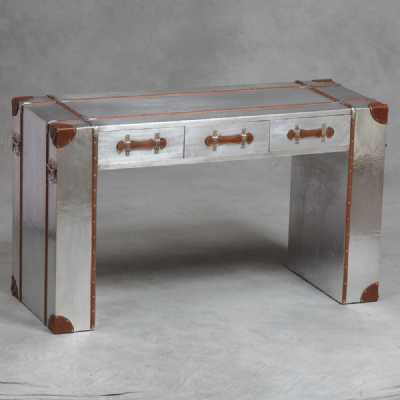 Industrial Travel Trunk Silver Large Desk Table