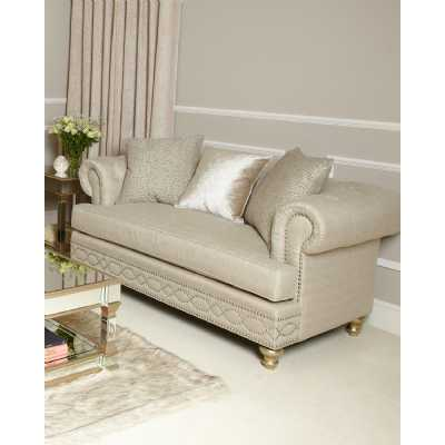 Glam Modern Cream 2 Seat Love Seat with Accent Cushions