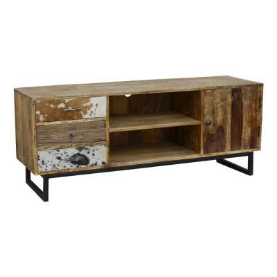 Railway Leather Furniture 3 Drawer 1 Door TV Unit Reclaimed Wood