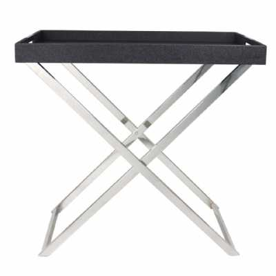 Modern Black Faux Stingray Large Folding Side Table Tray